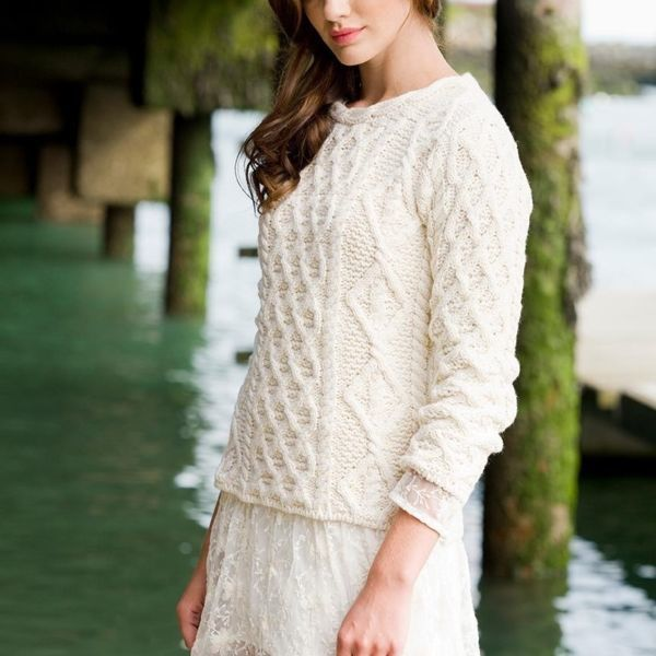 Femme Lattice cable lambray Aran Sweater