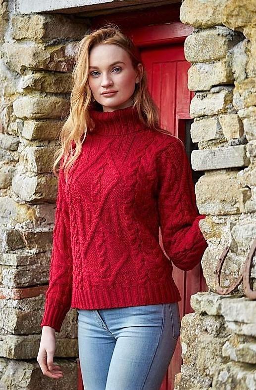 Pull irlandais chaud col roulé laine mérinos